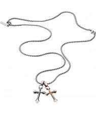 Police 25524PSSRG-01 Mens Gemini Silver Steel Necklace