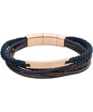 Fossil JF02379791 Mens Vintage Casual Brown And Navy Layered Bracelet