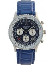 Krug-Baumen 400507DS Air Traveller Diamond Blue Dial Blue Strap