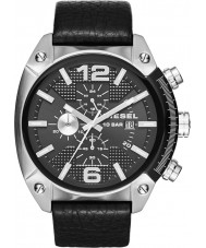 Diesel DZ4341 Mens Overflow Chronograph Black Leather Strap Watch