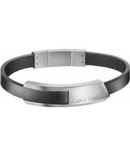 Calvin Klein KJ4MBB090100 Mens Bump Black Leather Bracelet