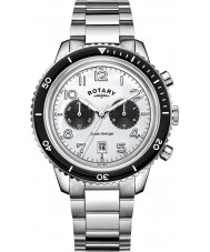 Rotary GB05021-18 Mens Timepieces Ocean Avenger Chrono White Steel Watch
