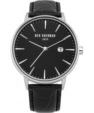 Ben Sherman WB001B Mens All Black Leather Strap Watch