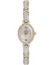 Bulova 98L005 Ladies White Gold Crystal Watch