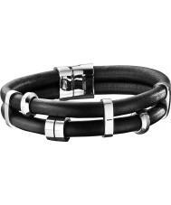 Jewellery Police Mens Miami Black Leather Bracelet