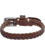 Fossil JF02371040 Mens Vintage Casual Dark Brown Leather Bracelet