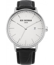 Ben Sherman WB001W Mens White and Black Leather Strap Watch
