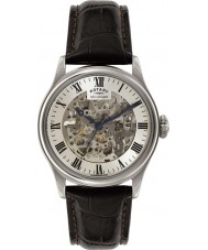 Rotary GS02940-06 Mens Timepieces Silver Brown Skeleton Mechanical Watch
