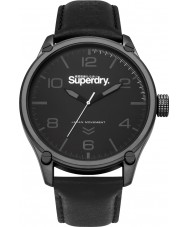 Superdry SYG200BB Military Black Leather Strap Watch