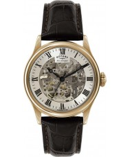 Rotary GS02942-01 Mens Timepieces Rose Gold Plated Brown Skeleton Mechanical Watch