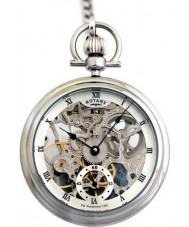 Rotary MP00723-21 Mens Mechanical Skeleton Steel Pocket Watch