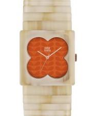 Orla Kiely OK4009 Ladies Lucy Matte Orange Pale Horn Expander Strap Watch