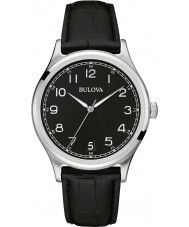 Bulova 96B233 Mens Vintage Black Leather Strap Watch