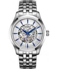 Rotary GB05032-06 Mens Silver Tone Steel Skeleton Mechanical Watch