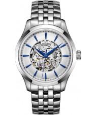 Rotary GB05032-06 Mens Silver Tone Steel Skeleton Mechanical Watch