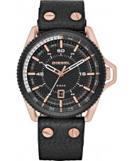 Diesel DZ1754 Mens Roll Cage Black Leather Strap Watch