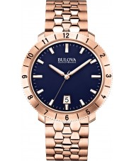 Bulova 97B130 Mens BA II Rose Gold Steel Bracelet Watch