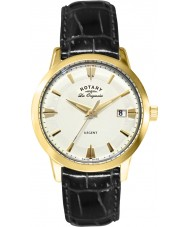 Rotary GS90115-01 Mens Les Originales Regent Gold Black Leather Strap Watch