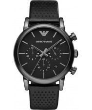 Emporio Armani AR1737 Mens Classic Chronograph IP Black Leather Strap Watch