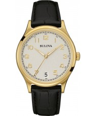 Bulova 97B147 Mens Vintage Black Leather Strap Watch