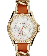 Fossil ES3723 Ladies Riley Tan Leather Strap Watch