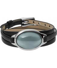 Skagen SKJ0390040 Ladies Sea Glass Black Leather Bracelet with Grey Stone