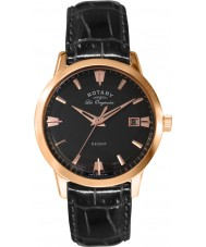 Rotary GS90116-04 Mens Les Originales Regent Rose Gold Black Leather Strap Watch