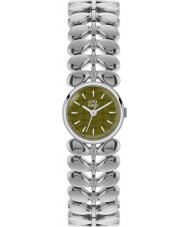 Orla Kiely OK4011 Ladies Laurel Matte Olive Silver Tone Steel Watch