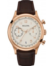 Bulova 97B148 Mens Vintage Brown Leather Strap Chronograph Watch