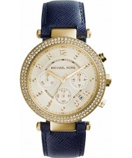 Michael Kors MK2280 Ladies Parker Navy Leather Strap Chronograph Watch