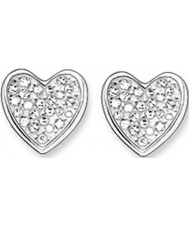 Thomas Sabo H1863-051-14 Ladies Zirconia Pave Heart Silver Stud Earrings