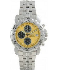 Krug Baümen 241269DM-Y Mens Sportsmaster Metallic Yellow Diamond Chronograph Watch