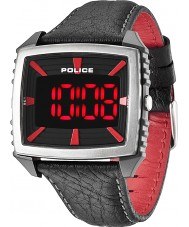 Police Mens Countdown Red and Black Leather Strap Watch
