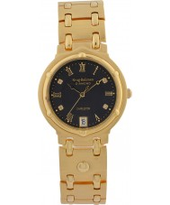 Krug-Baumen 5118DM Charleston 4 Diamond Black Dial Gold Strap