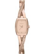 DKNY Ladies Crosswalk Rose Gold Stone Set Bangle Watch