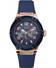 Guess W0571L1 Ladies Jet Setter Blue Silicone Strap Watch