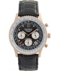 Krug-Baumen 400703DS Air Traveller Diamond Black Dial Rose Gold Case