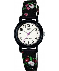 Casio LQ-139LB-1B2ER Junior Collection Black Flowered Leather Cloth Strap Watch