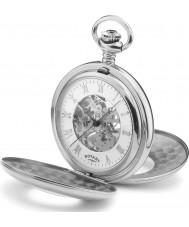 Rotary MP00712-01 Mens Mechanical Skeleton Steel Pocket Watch