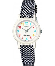 Casio LQ-139LB-1BER Junior Collection Black and White Leather Cloth Strap Watch