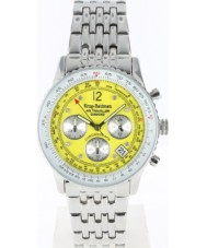 Krug Baümen 400309DS Air Traveller Yellow Dial Stainless Steel Strap