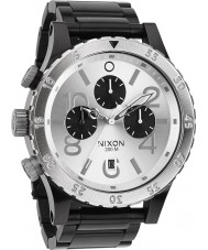 Nixon A486-180 Mens 48-20 Black Steel Bracelet Chronograph Watch