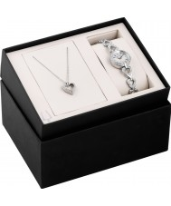 Bulova 96X136 Ladies Crystal Silver Steel Watch Box Set With Necklace