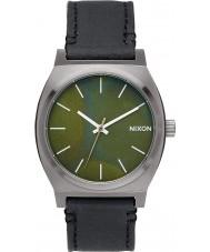 Nixon A045-2070 Mens Time Teller Gunmetal Green Oxyde Black Tapered Strap Watch