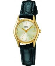 Casio LTP-1154PQ-7AEF Ladies Collection Black Leather Strap Watch