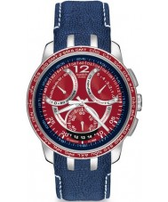 Swatch Mens Mental Fame Red Dial With Blue Leather Strap Watch