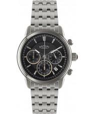 Rotary GB02876-04 Mens Timepieces Monaco Black Silver Chronograph Watch
