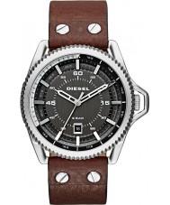 Diesel DZ1716 Mens Roll Cage Dark Brown Leather Strap Watch