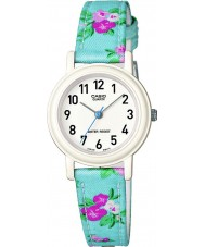 Casio LQ-139LB-2B2ER Junior Collection Blue Flowered Leather Cloth Strap Watch