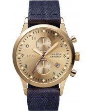 Triwa LCST103-CL060713 Gold Lansen Dark Blue Leather Strap Chrono Watch